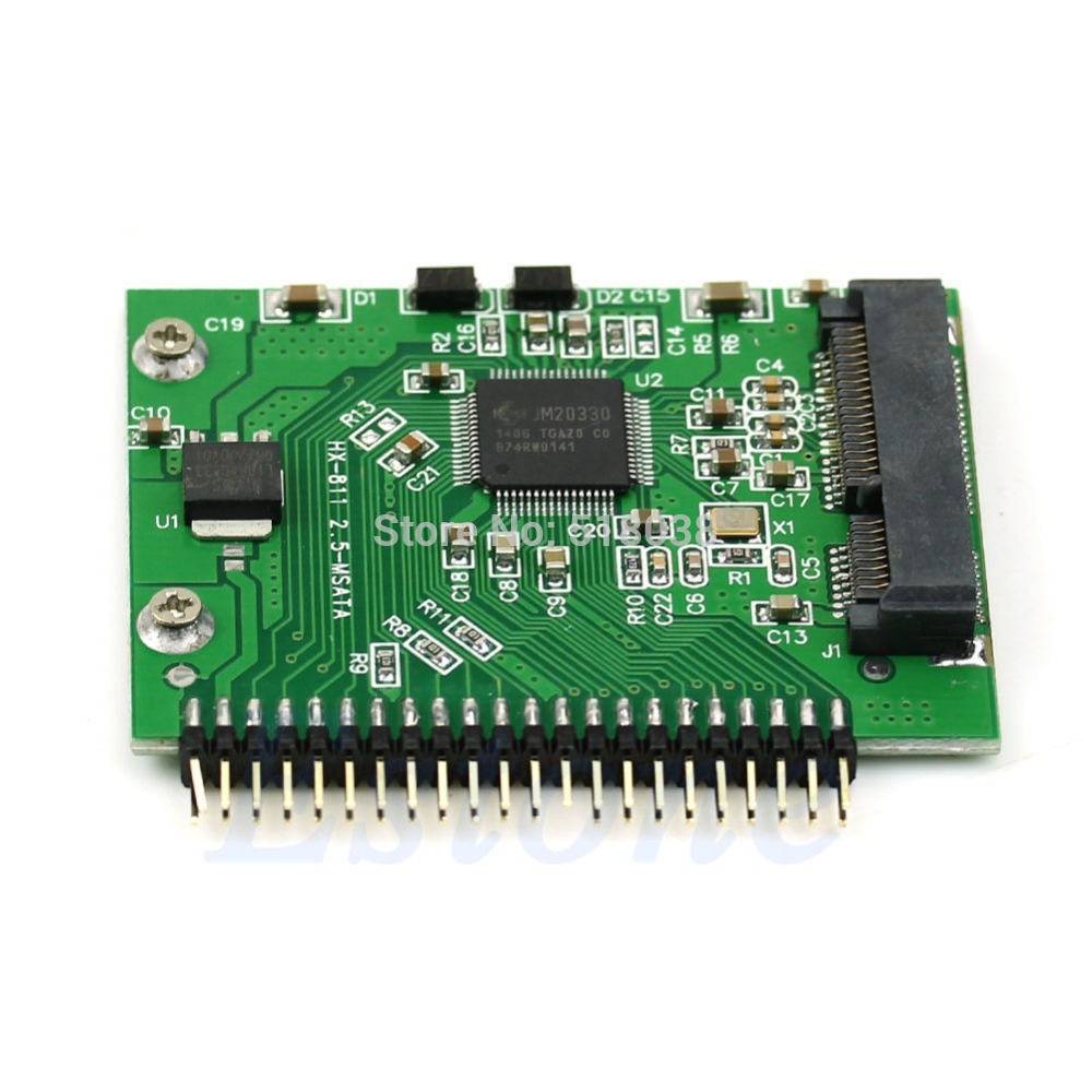 MSATA SSD To 44 Pin IDE Converter 5 Volt Adapter As 2.5 Inch IDE HDD For Laptop