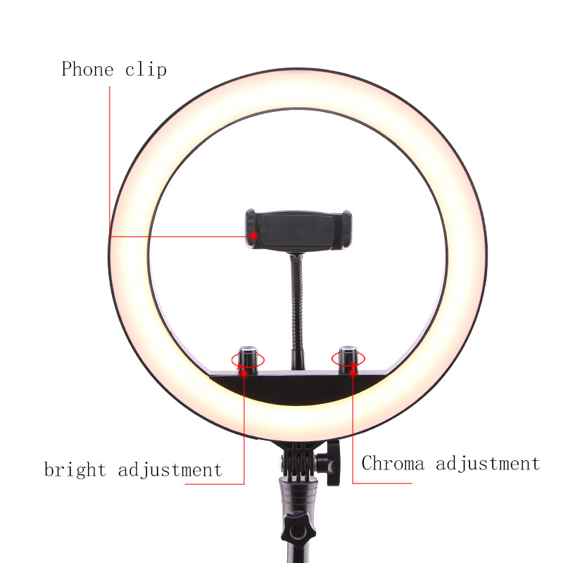 cheapest 3 phone holder 18 Inch LED Ring Light Lamp 48W Remote Dimmable Brightness Adjustable 3 Color Temperature Lighting Photography