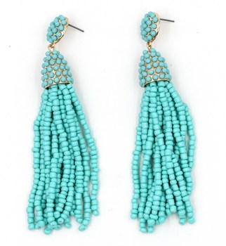 f1d8947a02b9 2019 Bohemia Color verde brillante gota pendientes largos pendientes de  cuentas borla pendientes para las mujeres joyería de moda al por mayor