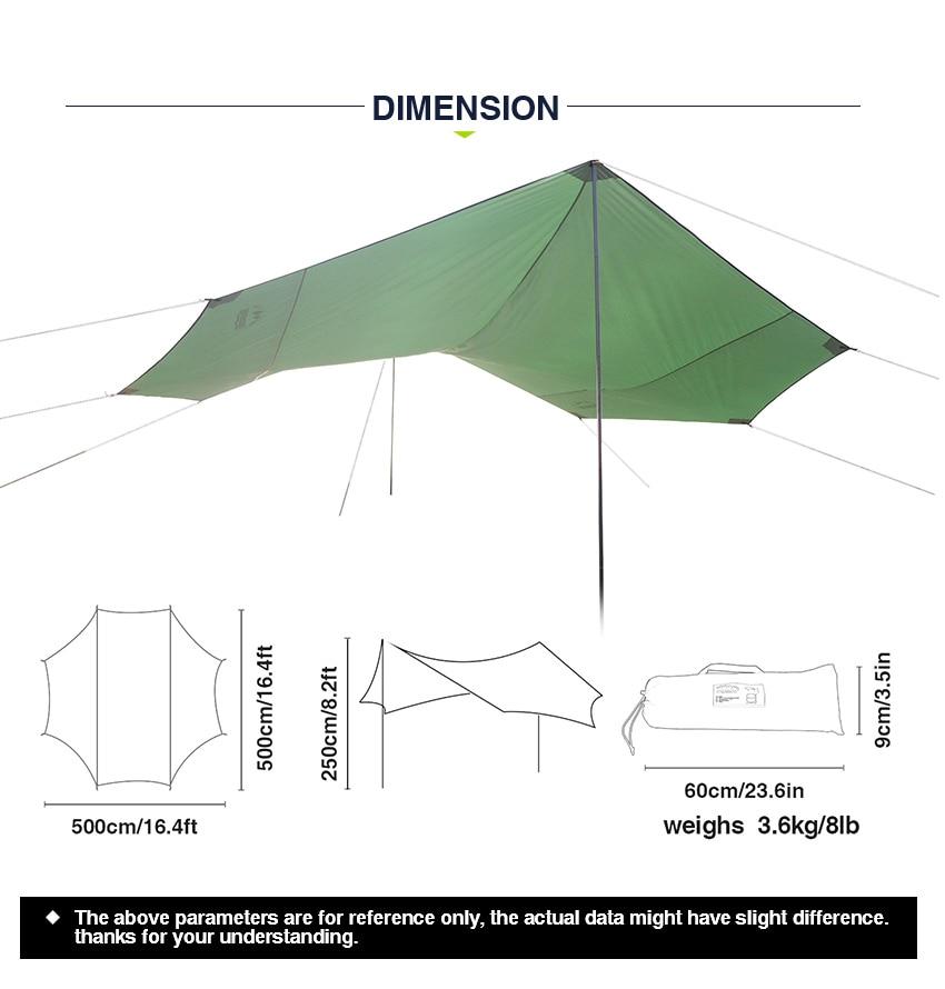 Grande sun shelter 16.4x16.4x8.2ft rede à prova