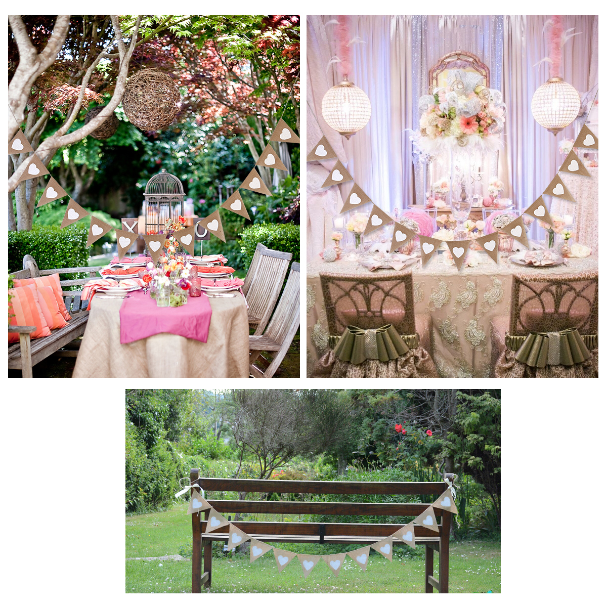 2017 13pcs jute fabric bunting banner white heart flags for Wedding decoration stores near me