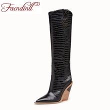 FACNDINLL brand women autumn winter warm boots new fashion high heels pointed toe zip shoes woman knee high boots big size 34-43 недорого