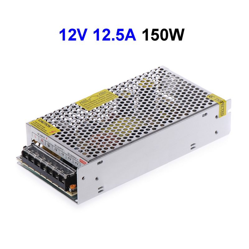 25pcs DC12V 12.5A 150W Switching Power Supply Adapter Driver Transformer For 5050 5730 5630 3528 LED Rigid Strip Light 90w led driver dc40v 2 7a high power led driver for flood light street light ip65 constant current drive power supply