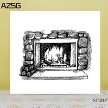 AZSG Fireplace Stove Fire Clear Stamps/Seals For DIY Scrapbooking/Card Making/Album Decorative Silicone Stamp Crafts