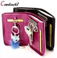 CONTACT'S bolsa titular de la clave de cuero genuino de las mujeres carteras clave de caso de gran capacidad de la marca de lujo monedero pareja clásico 2017