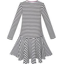 Girls Striped Long Sleeved Dress Size 6-12Yrs