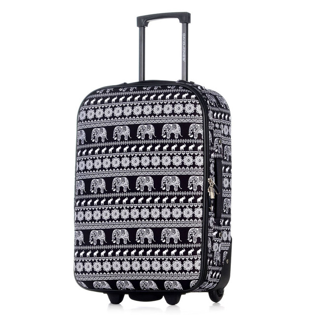 DAVIDJONES 1 Piece Luggage 20 inches carry-on valise Lightweight Vintage Print Suitcase waterproof travel accessories