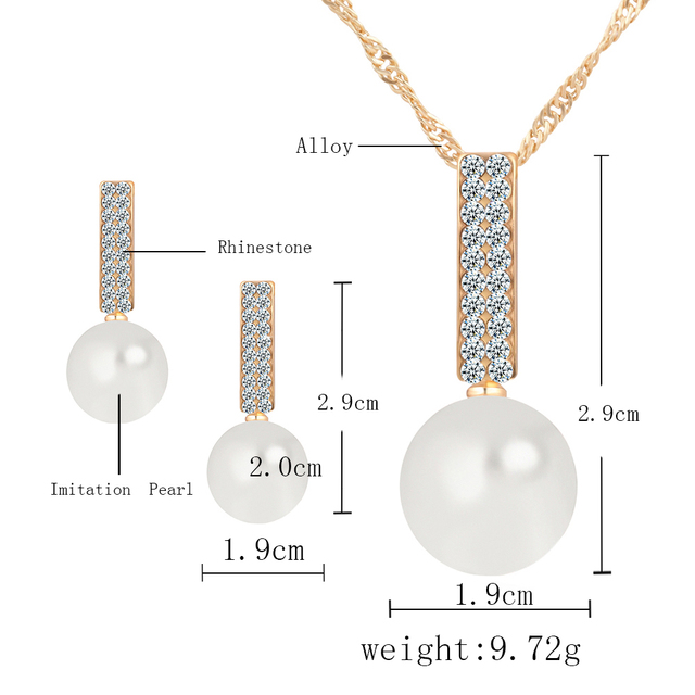 17KM Women Fashion Jewelry Set Necklace Earrings Simple simulated Pearl Pendant Crystal Silver Color Wedding Jewelry Sets