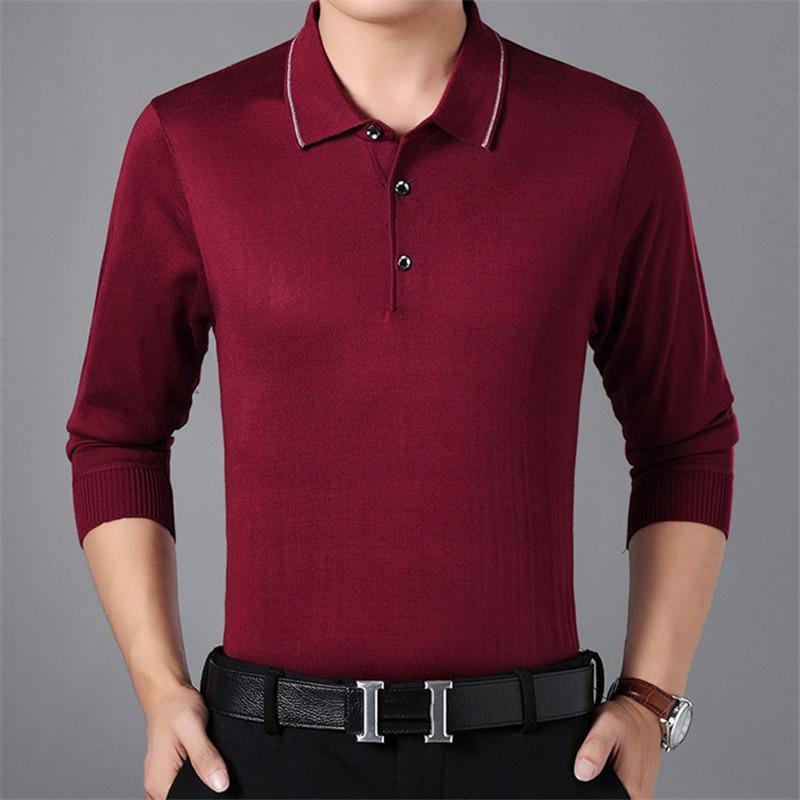 ARCSINX Knitted   Polo   Shirt Men Long Sleeve Autumn Winter Mens   Polo   Shirts Spring Casual Tee Shirt Men England Style Mens   Polo