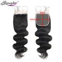 Malaysische Haar 6x6 Spitze Verschluss Körper Welle Schweizer Spitze Verschluss 100% Menschliches Remy Haar Schließung Mit Baby Haar natürliche Farbe Bigsophy