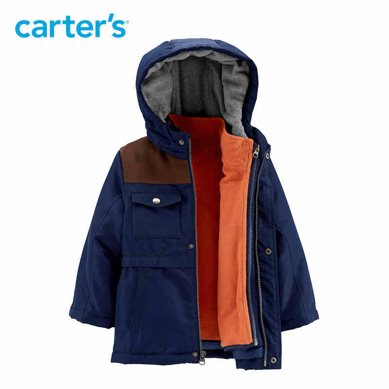 Carter's Blue hooded kids jacket long sleeve autumn winter coat for boys warm thick kid clothing CL218BX2 trendy lace up long sleeve blue hooded quilted coat for women
