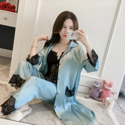 2019 New Women Sexy Lace Patchwork Silk   Pajamas     Sets   3Pcs Bathrobe+Suspender+Trousers Sleepwear   Set   High Grade Nightwear