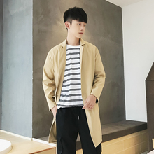 2018 Korean Autumn Neweat Men s Fashion Concise Three dimensional Clipping Long Windbreaker Solid Color Casual