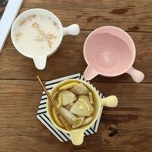 Креативный керамический соевый молочный овсянка пищевой контейнер индивидуальная Бытовая с ручкой фруктовый Овощной салатник Милая Глазированная ваза