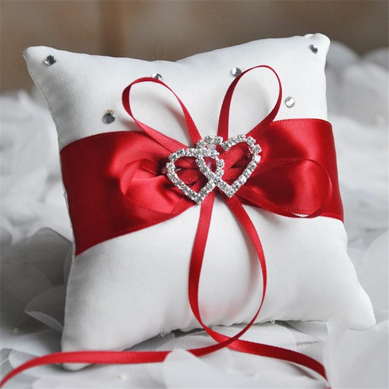Multicolor Double Heart Satin Bridal Ring Pillow Rhinestone Diamond Wedding Supplies Gifts Accessories 10X10CM