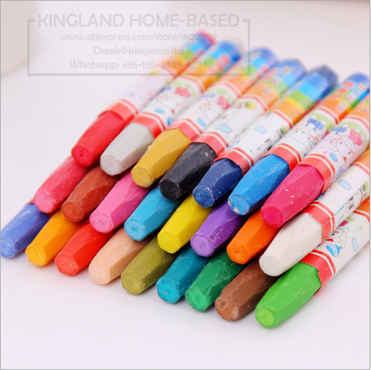 Color Wax Crayon can be washed oil painting stick Eraseable Plastic Crayon Painting for Children School Office Art Supplies