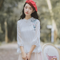 Literary Women's Autumn Vintage Embroidered Retro Oblique Plate Button Tops Loose Cotton Linen Chinese Small Shirt