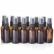 12 pcs Lege Navulbare 30 ml Amber Glas Spray Fles Vaporizador met Fijne Nevel Sproeiers voor essentiële olie aromatherapie parfum