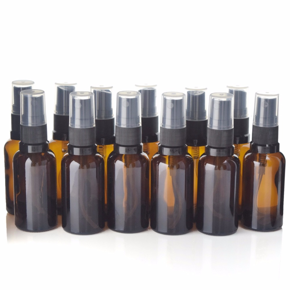 12pcs Empty Refillable 30ml Amber Glass Spray Bottle Vaporizador with Fine Mist Sprayers for essential oil aromatherapy perfume
