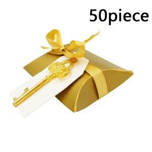 Image 3 - Abridor de garrafa chave de ouro 50 pçs/set, doce caixa de doces casamento esqueleto para festa decoração rústica enviar um pequeno presente para um convidado