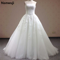Vestidos De Novias Elegant New Stock US Size 2 22 White Ivory Beading Sequined Strapless Satin