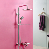 Free Shipping Wall Mounted Thermostatic Mixer Shower Set Chrome Finish Faucet Rain Bathroom Shower Head High
