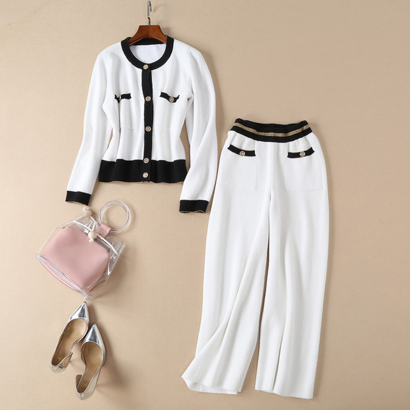 Autumn Spring Designer Elegant Women Casual 2 Pieces Pants Suits Sets Knitted Sweater Elastic Trousers Knitting