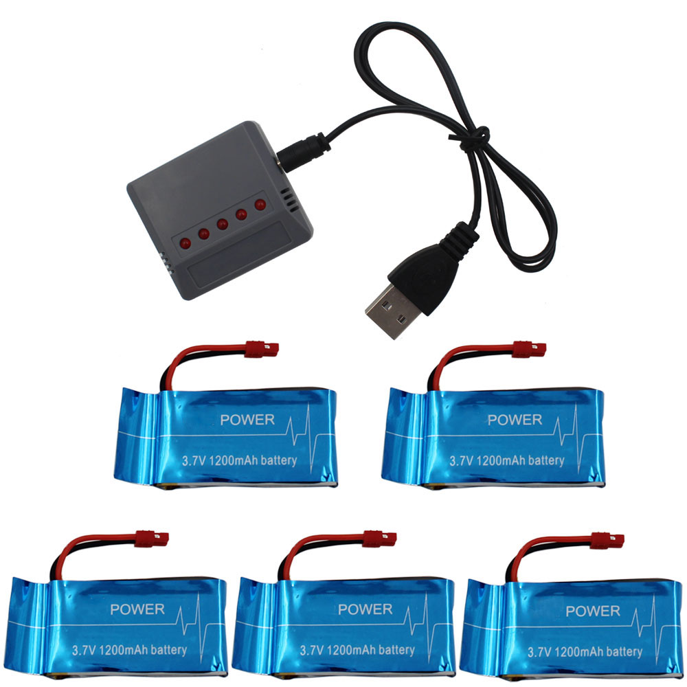 2017 New 5X Blue 3.7V 1200mah Upgrade Battery 5 in 1 charger For SYMA X5SC X5SC-1 X5SW RC Quadcopter WLtoys Portbale все цены