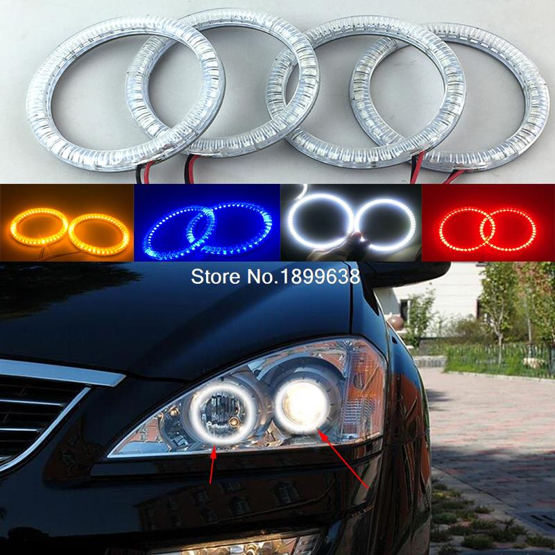 4pcs Super bright red blue yellow white 3528 smd led angel eyes halo rings car styling For SsangYong Kyron 2007 2008 2009 2010 92mm ext diameter 2pcs super bright led angel eyes rings with dimming function white red orange green blue optionally