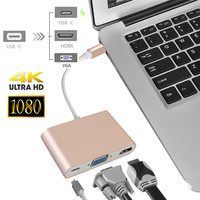 USB Type C to VGA Adapter USB 3.1 to Type C Female HDMI Video Adapter Converter with PD Charging Port Hub for Macbook Support 4K