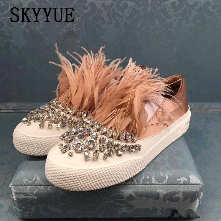 2018 New Pink Genuine Leather Crystal Beading Feather Women Flats Round Toe Slip On Women Summer Loafers Shoes Women pink snake print round toe slip on loafers