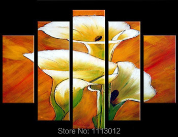Modern Yellow Lily Morning Glory Flower Oil Painting On Canvas Abstract 5 Panel Arts Set Home Decor Wall Picture For Living Room
