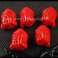Free Shipping Women Fashion Jewelry 5pcs 11x18mm Taiwan Red Peking Cinnabar Buddha Head Pendant bead  C3393