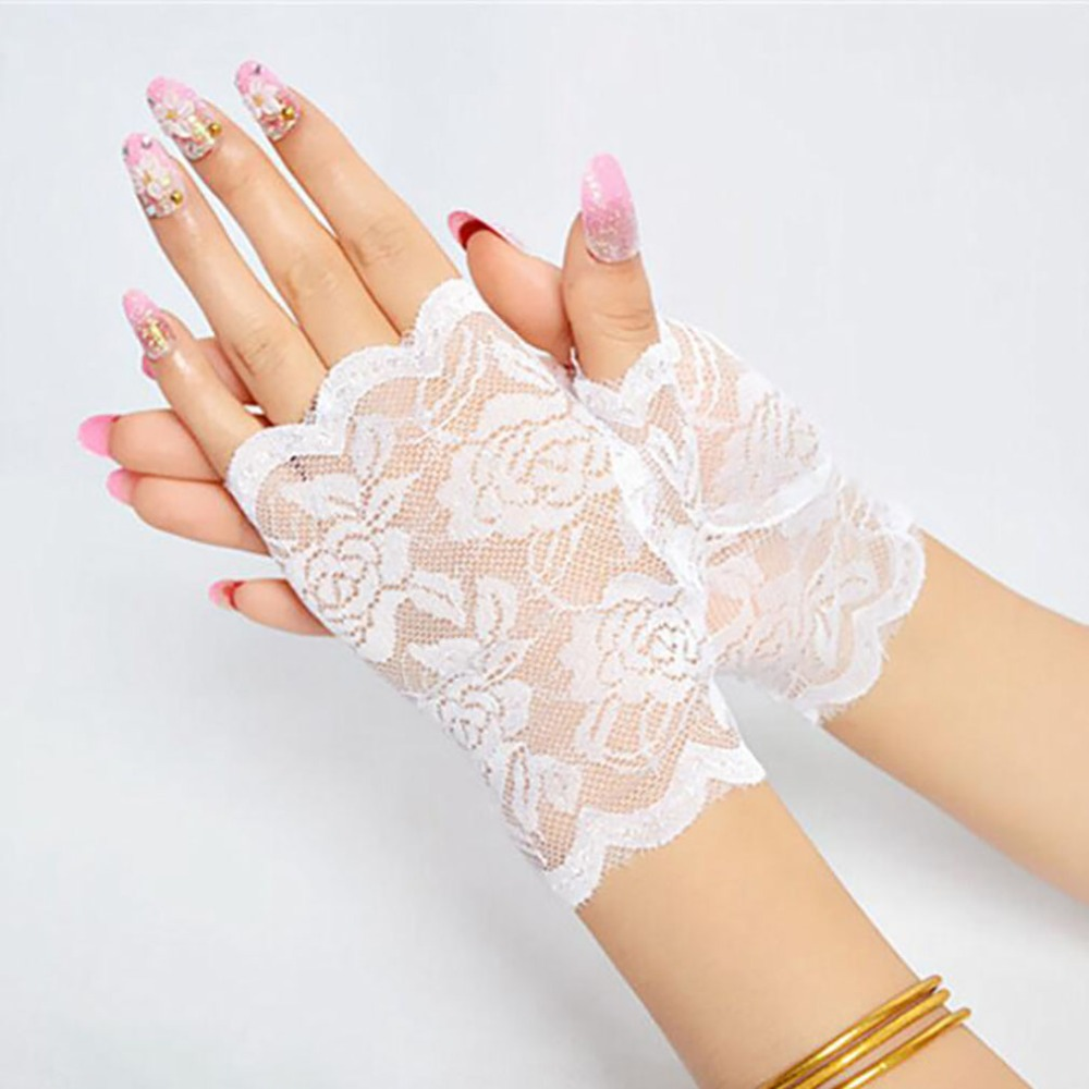 Best Sale Sailor Dance Long Fingerless Womens Sexy Lace Gloves Ladies Half Finger Fishnet Gloves Heated Mesh Mitten Handschoenen 4