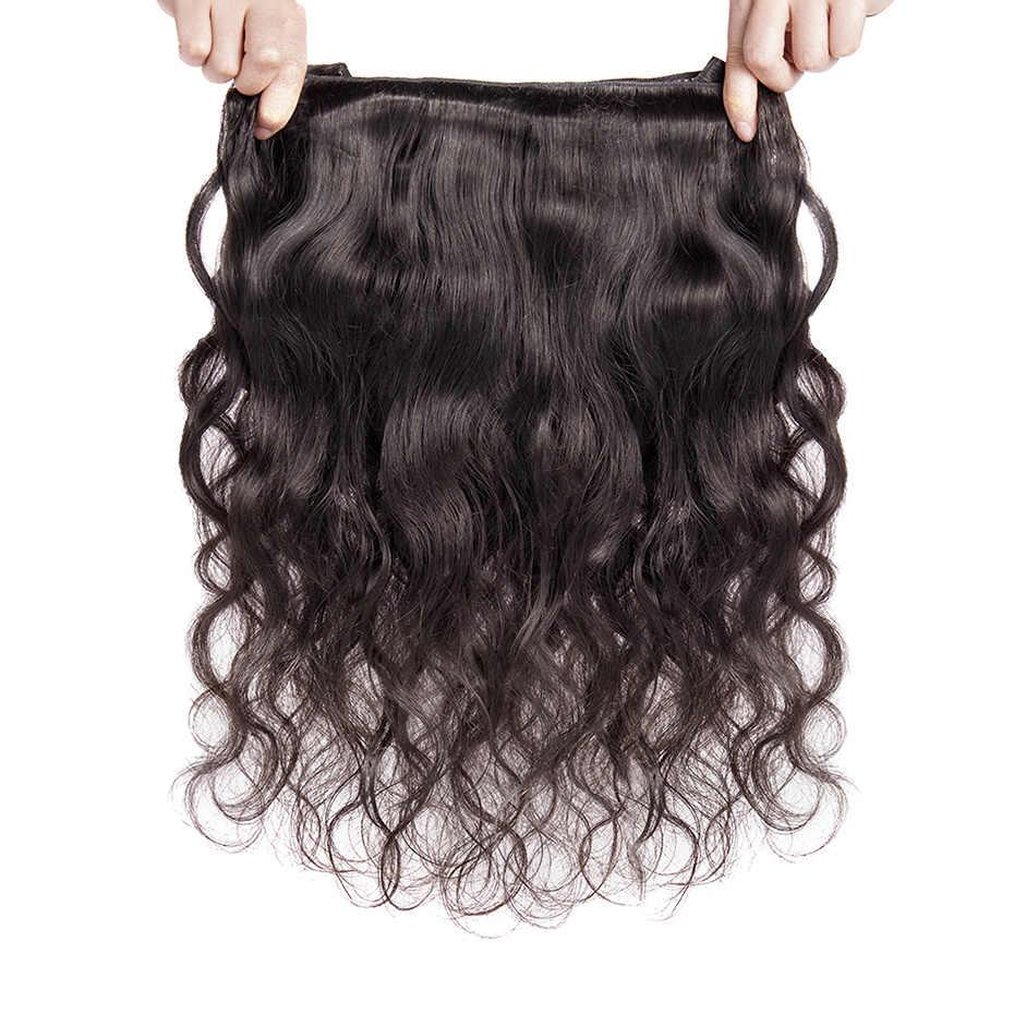 MS Lula pelo 4 paquetes de onda del cuerpo de Malasia con 1 pieza 4x4 parte libre Cierre de encaje 100% humano paquetes de cabello con cierre Remy