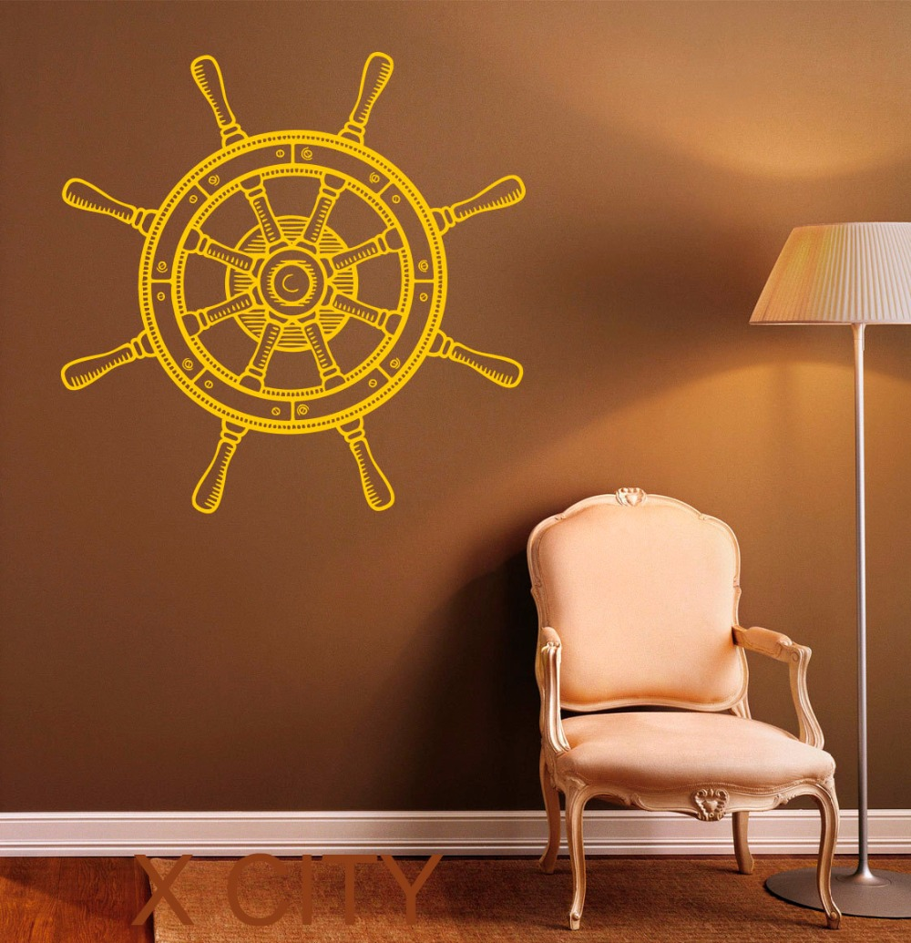Ship Wheel Stickers Steering Boat Decals <font><b>Nautical</b></font> Wall Vinyl <font><b>Home</b></font> Interior Design Art Office Murals Bedroom <font><b>Decor</b></font>