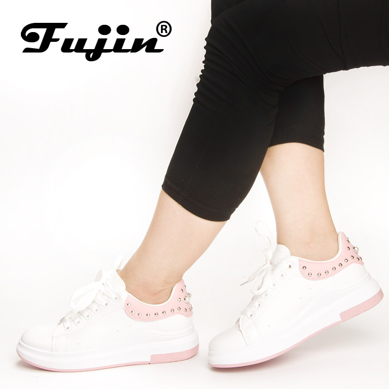 Fujin Brand women Rhinestone 2018 sneakers Spring Autumn Pu Leather Casual Shoes Lady Fashion Lace-up Platform Shoes