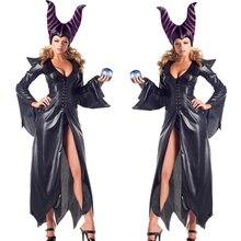 높은 품질 Maleficent 의상 PU 영화 Maleficent 코스프레 의상 Adlut 섹시한 할로윈 의상 파티 여성을위한 멋진 드레스