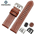 HENGRC Venda Quente do Couro Genuíno Watch Band Strap 23mm Homens New Black Brown Pulseira Agulha Fivela de Cinto De Metal Para Luminox