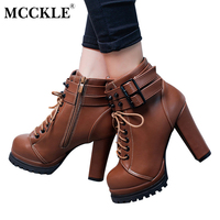 MCCKLE Female Zip Buckle Lace Up Sexy Leather Ankle Boots Ladies Fashion Platform Style Thick Heel Autumn Rivets High Heels