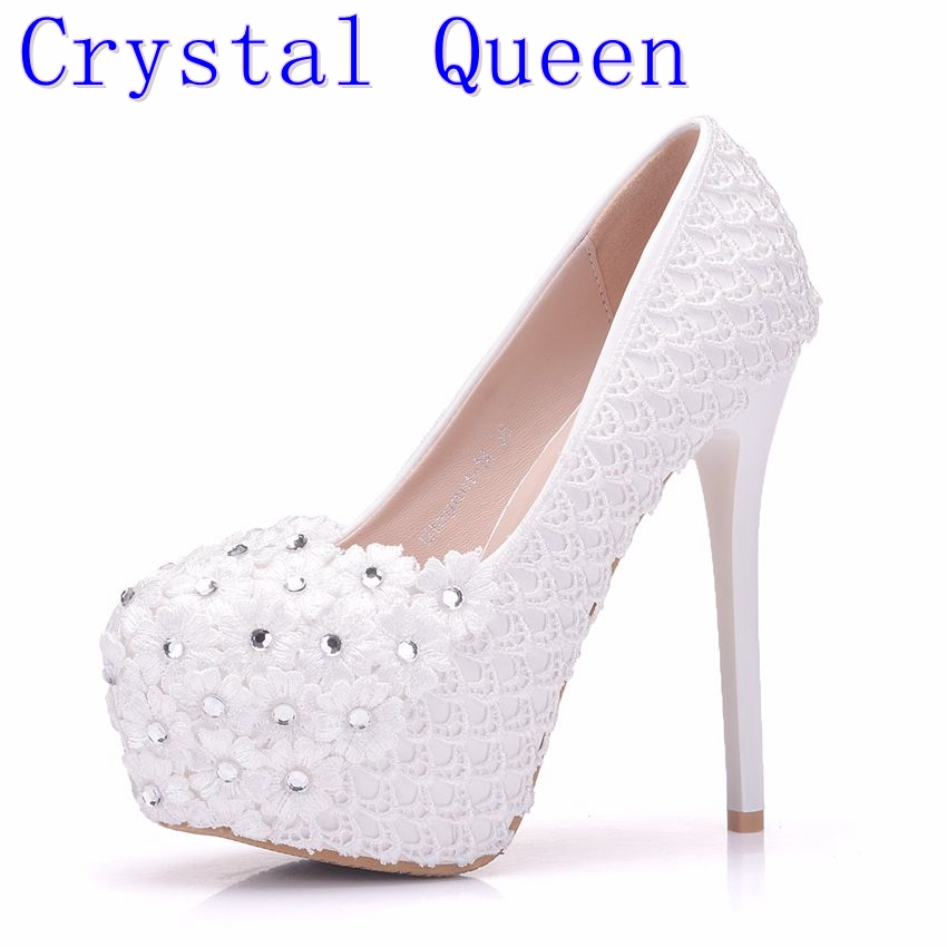 Crystal Queen Women Shoes Sexy White Lace Pumps Shoes Woman Flower Round Toes Platforms Spring Wedding Party High Heels Shoes