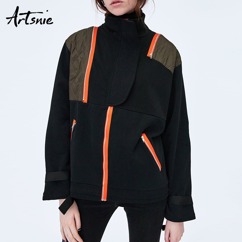 Artsnie Winter 2018 Cotton Black Patchwork Pullovers Women Turtleneck Long Sleeve Streetwear Casual Sweatshirts Femme Jumper
