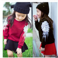 2016 Brand Fashion Autumn Winter Girls Wing Thicken Long Sleeve Cotton Hoody Children School Beautiful Clothing Hot Sale