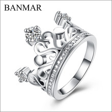 Banmar Jewelry Fine Fashion Zircon Crown Ring Gift Silver Finger Rings Female Anel Bague Femme Wedding Rings Promotion