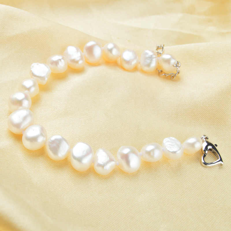 ASHIQI 9-10mm Baroque White Natural pearl Jewelry Sets Real Freshwater pearl Necklace Bracelet for women
