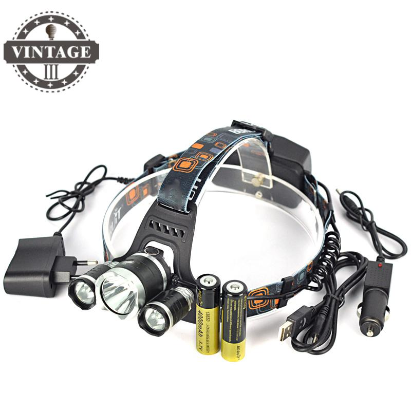 RJ-5000 8000 Lm 3L2 LED Headlamp Headlight Caming Hunting Head Lamp 4Modes Power Bank +2*18650 Battery + Car USB Charger