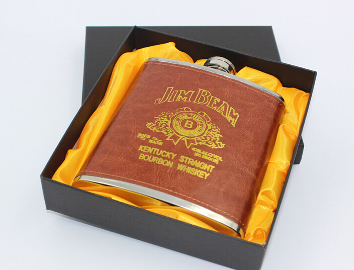 1 ud. de lujo de acero inoxidable de 18 oz whisky ruso frasco de cadera de cuero frasco personalizado para Alcohol con caja de regalo JZ 1116