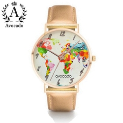 AVOCADO New Brand Rose Gold World Map Watch Watercolor Gift For Women Daughter Travel Watch Leather Watch DW Nylon Style Strap