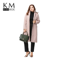 Kissmilk Plus Size Fashion Women Clothing Ladies Basic Open Stitch Coat Outwear Long Sleeve Big Size