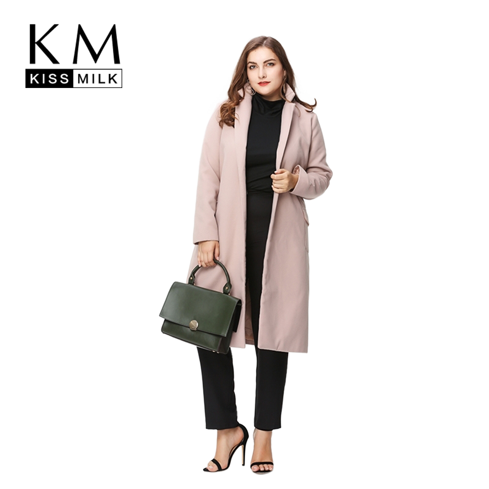 Kissmilk Plus Size Women Basic Open Stitch thick Coat Lace Up Long Sleeve Outwear Casual Lady